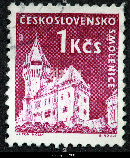 Ceskoslovensko Smolenice 1KCS Castle Anton Holly B.Roule Stamp - Stock Image