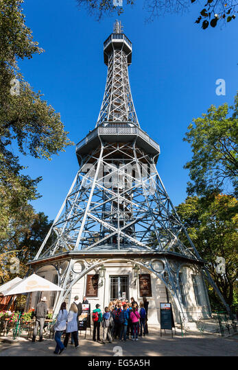 Lookout Tower on Petrin Hill, Prague - Stock Image