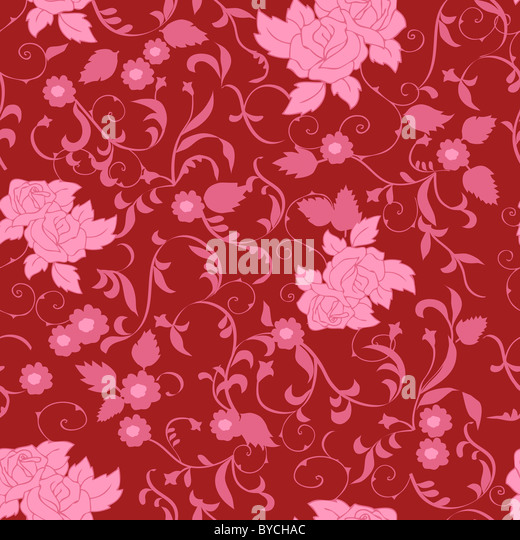 Pink Seamless Floral Pattern - Stock Image