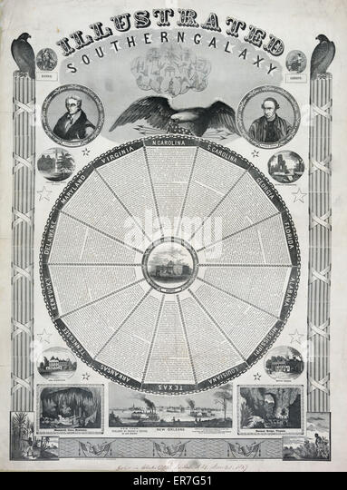 Illustrated southern galaxy. Date c1847 Nov. 30. - Stock Image