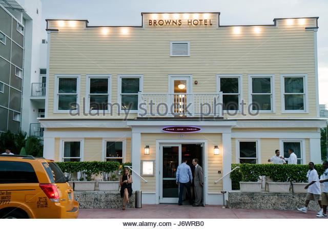 Miami Beach Florida Ocean Drive Browns Hotel Prime One Twelve 112 restaurant - Stock Image