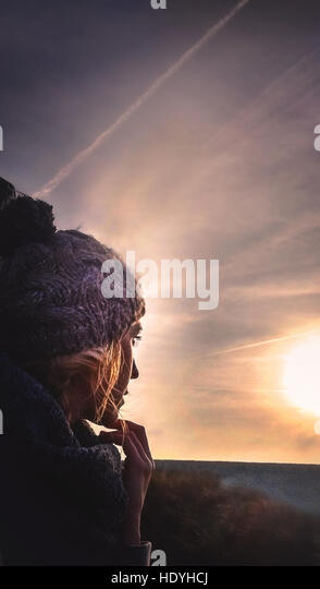young woman in fields - Stock Image