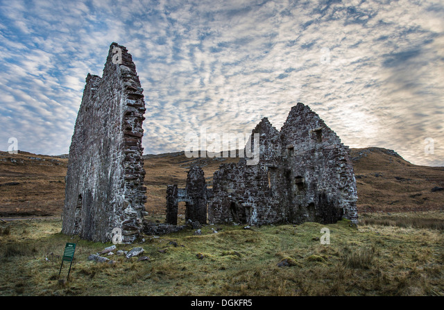 A view toward Calda House ruins in the Scottish Highlands. - Stock Image