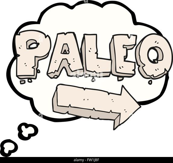 freehand drawn thought bubble cartoon paleo diet pointing arrow - Stock Image
