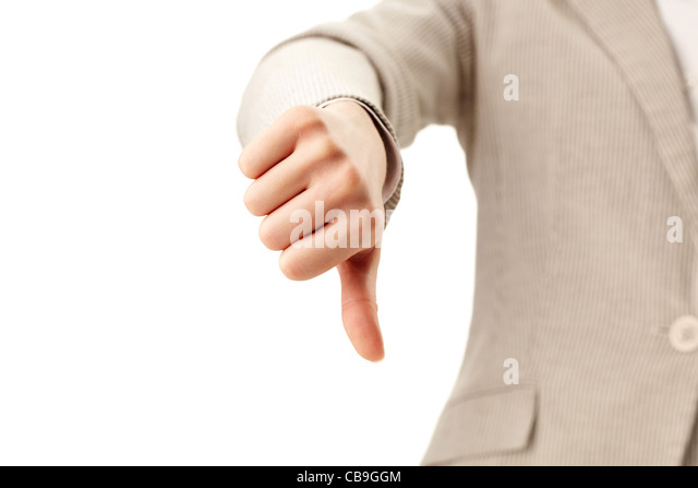 Image of human hand showing thumb down in isolation - Stock Image