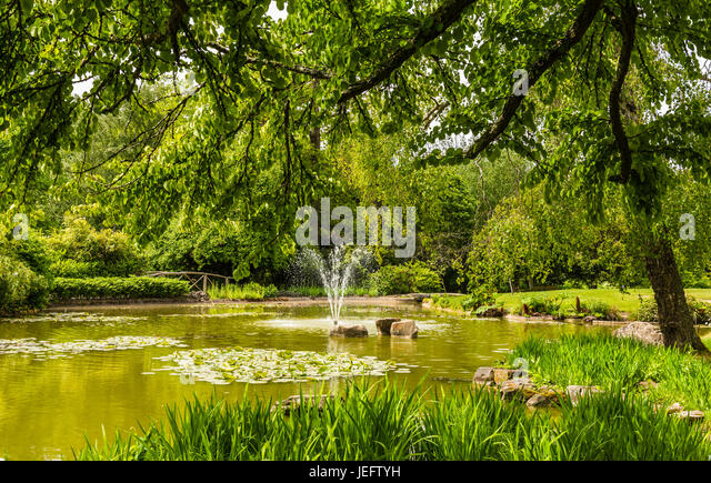 Lake and fountain in the water gardens at Cliveden, Buckinghamshire, UK - Stock Image