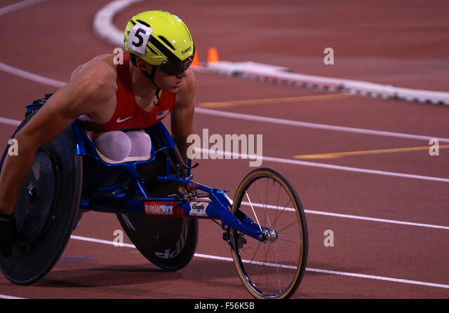 Doha, Qatar. 28th Oct, 2015. Event Overview - Men's 800m T54 - Round 1 Heat 1 to 4 at 2015 IPC Athletics World - Stock Image