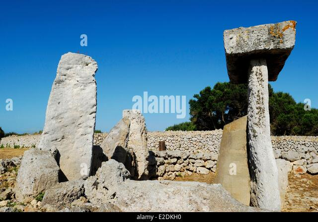 Spain Balearic Islands Menorca the talayotic settlement of Trepuc¾ between Mahon and Sant Lluis the sanctuary - Stock Image