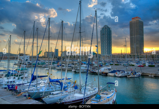 Spain, Barcelona, Port Olimpic - Stock Image