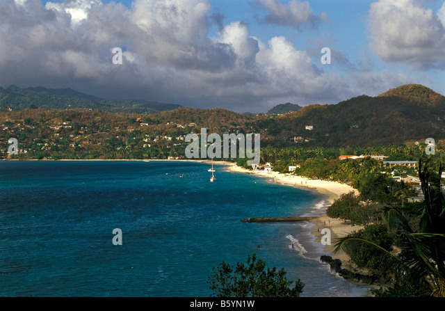 Grenada Grand Anse Beach st george's top attraction aerial view from above - Stock Image