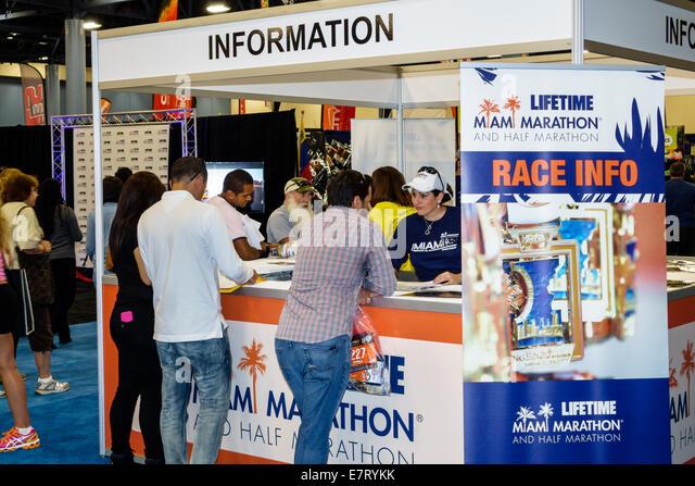 Miami Beach Florida Convention Center centre Nissan Health and & Fitness Expo Miami Marathon Half running runner - Stock Image