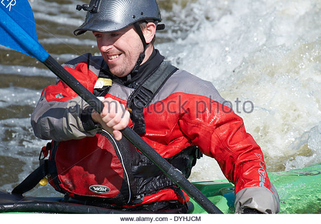 White water canoeing, Holme Pierrepont, Nottingham. National Watersports Centre - Stock Image