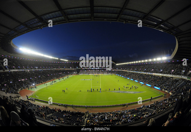 Murrayfield Rugby Stadium in Edinburgh. Scotland v All Blacks from New Zealand - Stock Image