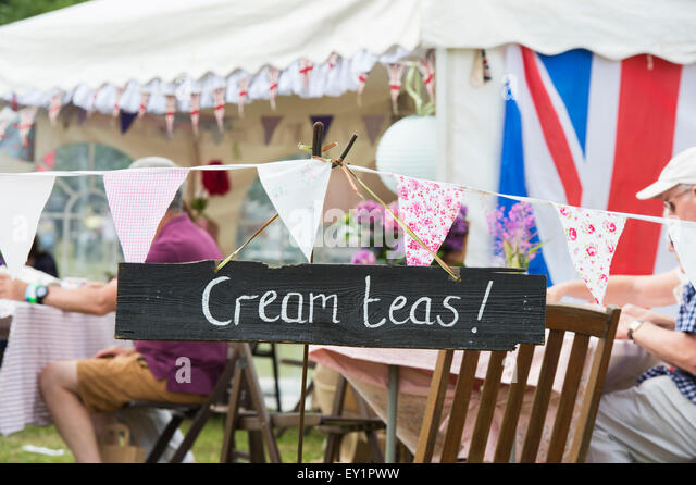 Cream Teas sign at the Thames Traditional Boat Festival, Fawley Meadows, Henley On Thames, England - Stock Image