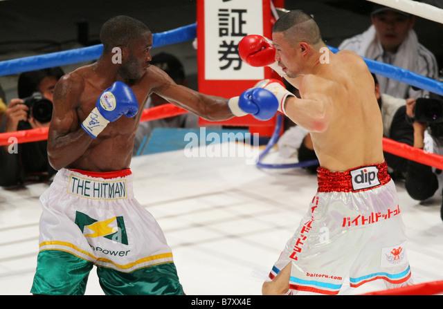 L to R Paulus Moses Namibia Yusuke Kobori JPN JANUARY 3 2009 Boxing World Boxing Association WBA Light weight title - Stock Image