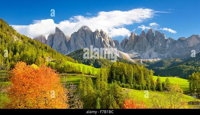 Autumn in Santa Maddalena, Dolomites Mountains, Tyrol, Val Di Funes, Italy - Stock Image