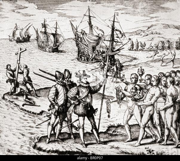The First Landing of Columbus on San Salvador Island, West Indies. Christopher Columbus c.1451 to 1506. - Stock-Bilder