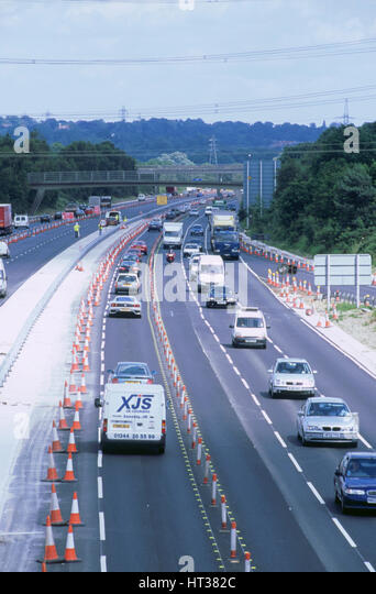 Contraflow system on M27 motorway. Artist: Unknown. - Stock Image