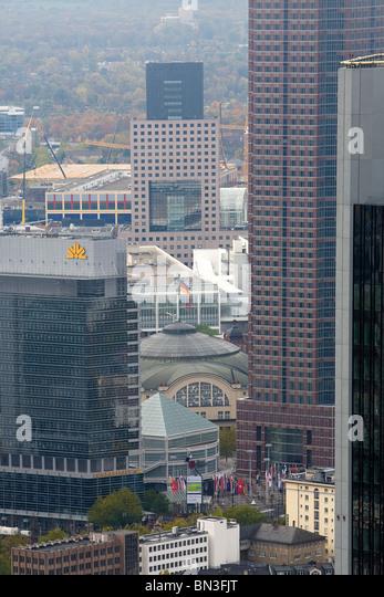 Festhalle and highrises, Frankfurt am Main, Hesse, Germany - Stock Image