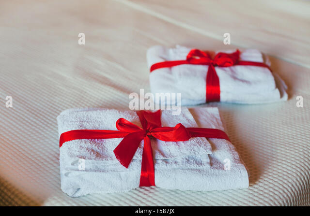 towels in the hotel - Stock Image
