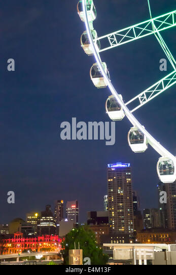 Brisbane Australia Queensland Central Business District CBD city skyline skyscrapers buildings The Brisbane Wheel - Stock Image