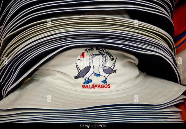 Galapagos Islands booby hats shopping souvenirs at Baltra airport - Stock Image