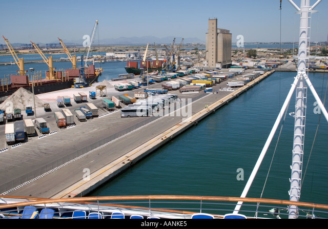 Cargo of salt load load loading at Cagliari Port Sardinia , view from Cruse Ship entering Cagliari Harbour - Stock Image