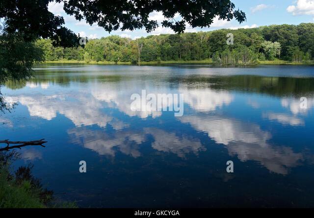 scenic of holland lake in lebanon hills regional park eagan minnesota - Stock Image