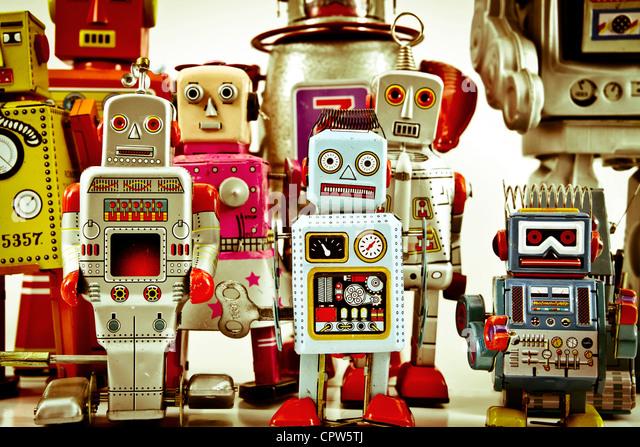 retro robot toy group - Stock Image