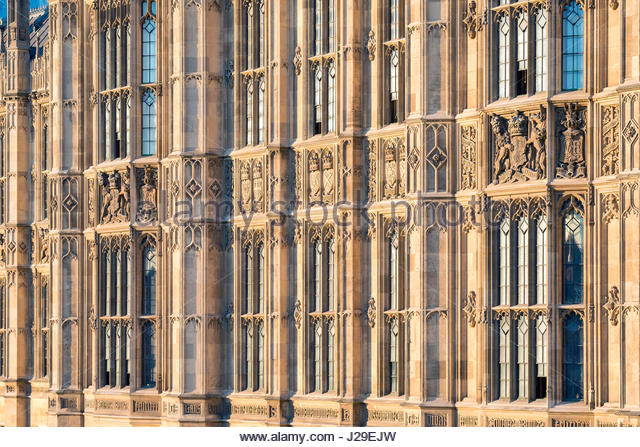 United Kingdom, England, London. Palace of Westminster, the houses of Parliament of the United Kingdom, detail of - Stock Image