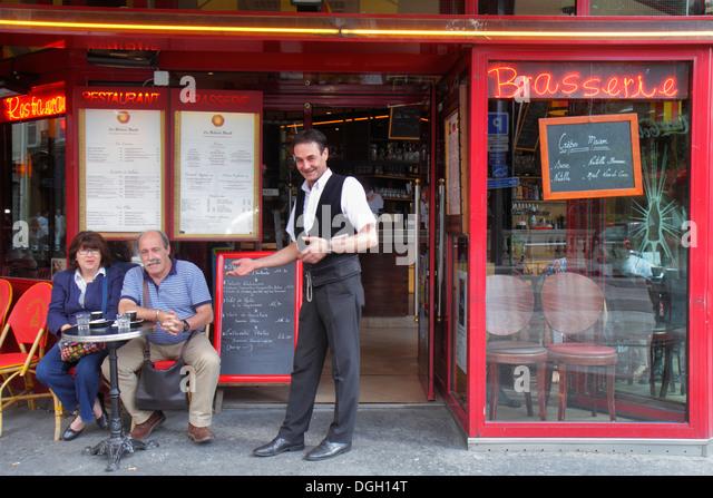 Paris France Europe French 9th arrondissement Place d'Estienne d'Orves La Rotonde restaurant cafe brasserie - Stock Image