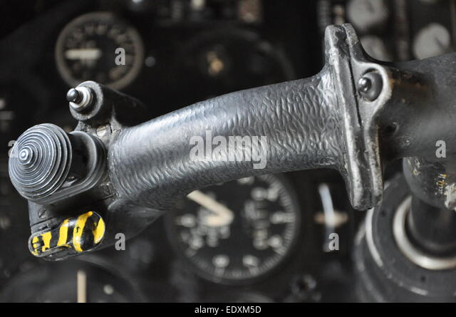 Avro Vulcan bomber plane control column joystick cockpit details, illustrating Cold War era technology - Stock Image
