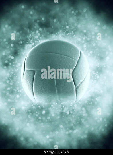 volleyball ball in smoke with bokeh - Stock Image