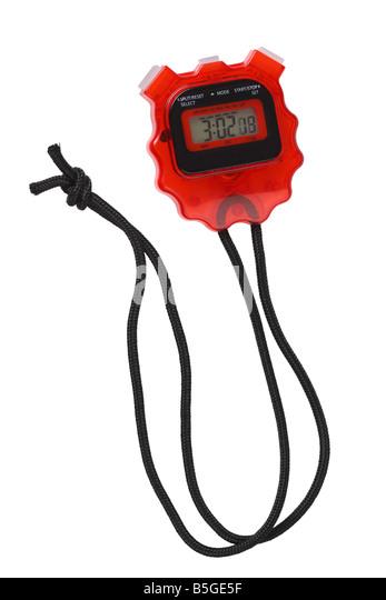 Stopwatch cutout on white background - Stock Image