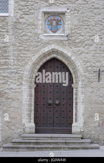 Entrance to Tallinn Town Hall. Estonia 2th July 2017 - Stock Image