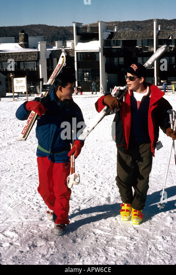 Vermont Bolton Valley Ski Resort winter sports students - Stock Image