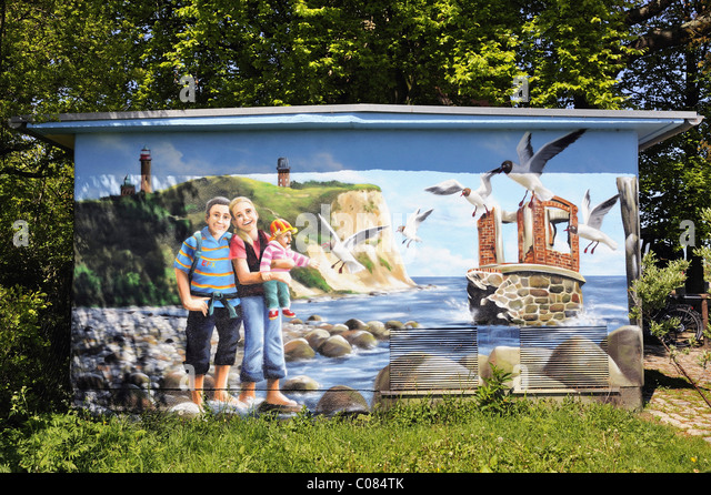Professionally painted Graffiti featuring the sights of Cape Arkona, on a transformer station, Ruegen Island - Stock-Bilder