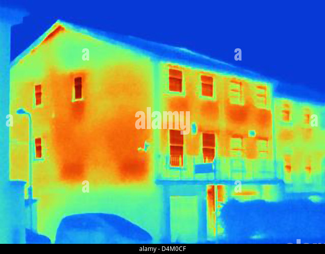Thermal image of houses - Stock Image