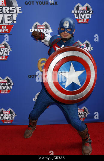 July 8, 2017 - Los Angeles, CA, USA - LOS ANGELES - JUL 8:  Captain America at the Marvel Universe Live Red Carpet - Stock Image