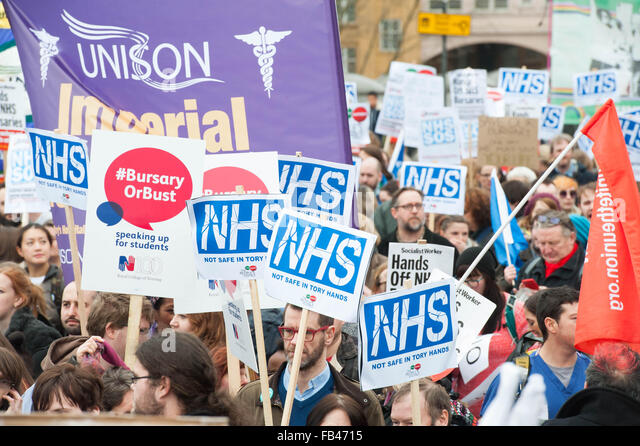 London UK. 09 January 2016 NHS Student nurses march against government plans to cut Bursaries. Credit: Michael Tubi/Alamy - Stock Image