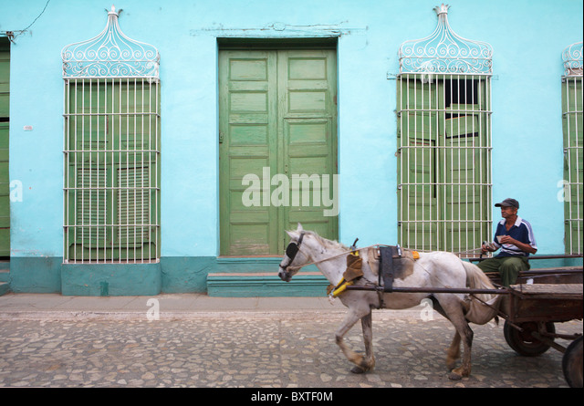 TRINIDAD: HORSE AND CART - Stock-Bilder