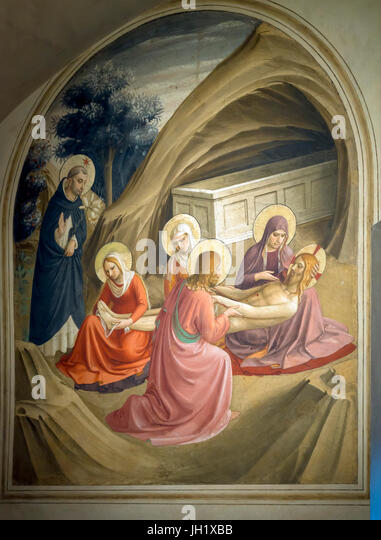 Lamentation over Christ, Cell 2, by Fra Beato Angelico, 1440-42, Convent of San Marco, Florence, Tuscany, Italy, - Stock Image
