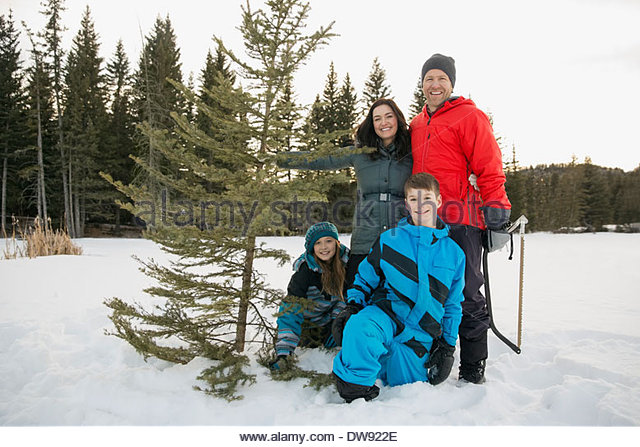 Portrait of two generation family with Christmas tree in snow - Stock-Bilder