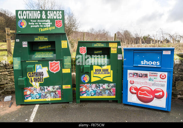 Recycling centre in car park, Eyam, UK - Stock Image