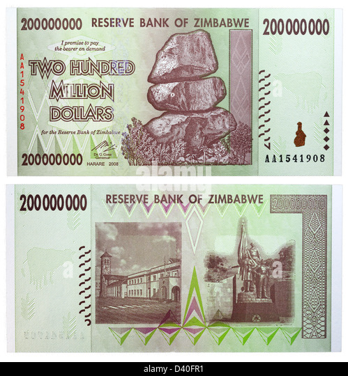 200 Million Dollars banknote, Chiremba Balancing Rocks, Zimbabwe, 2008 - Stock Image