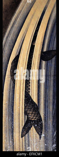 Katsushika Hokusai  Carp Leaping Up A Cascade - Stock Image