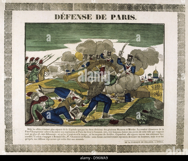 The Defence of Paris, 30 March 1814. The French defending Paris against Russian, Austrian and Prussian forces. Popular - Stock Image