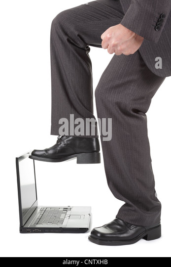 Laptop computer frustration - Stock Image