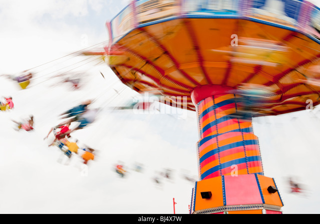 swing ride, Navy Pier on Lake Michigan, Chicago, Illinois, United States of America - Stock Image