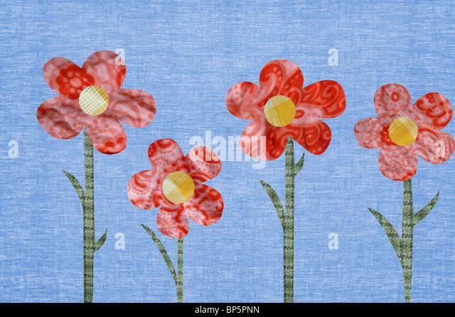 Flowers against blue background - Stock Image